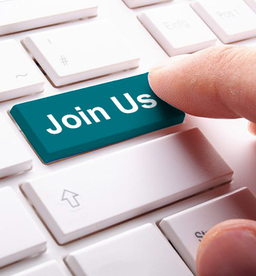 菁英招募,圖片中有一個手指正要按下鍵盤上的 join us 按鍵